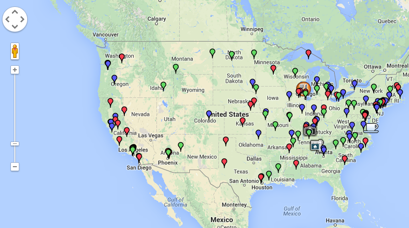 Fmeasymaps a free filemaker map solution filemakerprogurus map of us with pins all over gumiabroncs Image collections