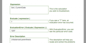 Screen shot of eval error program