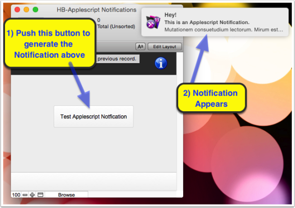 Example of an applescript notification
