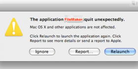 The application Filemaker crashed