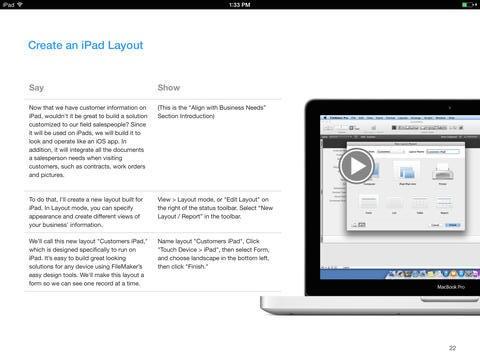 Ipad version of FileMaker 13 presentation