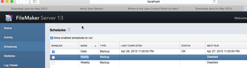 FM Server Backup setup