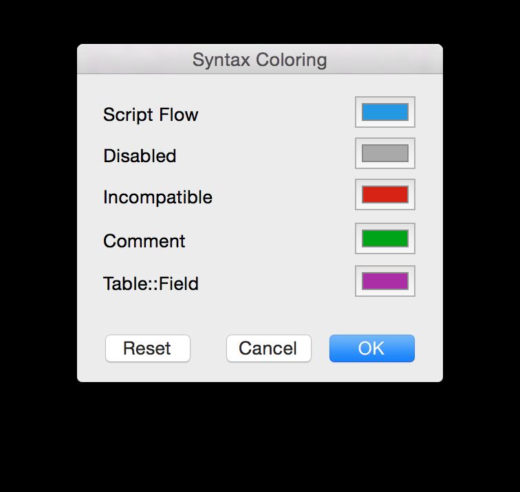 Script Step color coding FileMaker 14