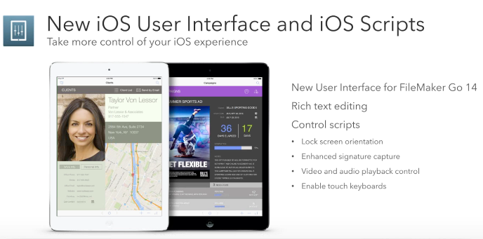 FileMaker 14 iOS interface and scripts