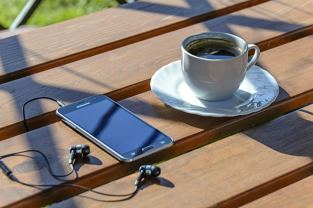 Coffee and a Smart phone