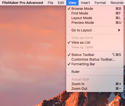 FileMaker's View Menu