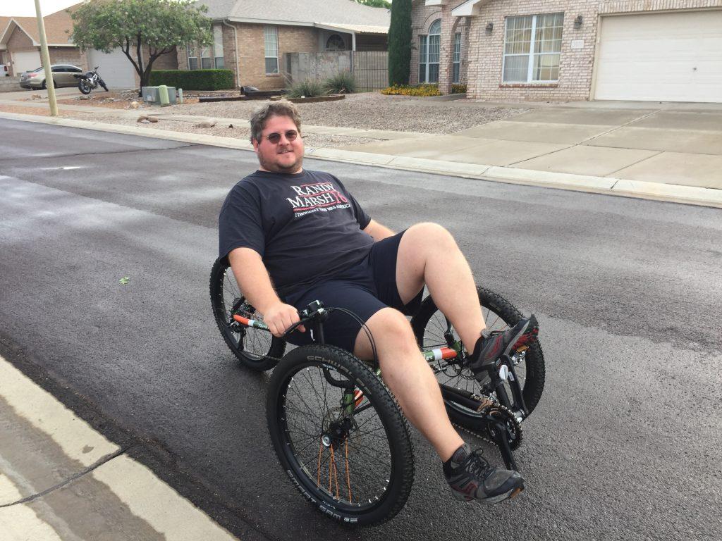Jon on his new three wheeler bike